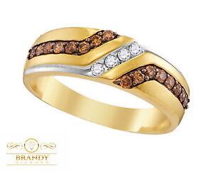 Men's Brandy Diamond® Chocolate Brown 10K Yellow Gold Stunning Band Ring