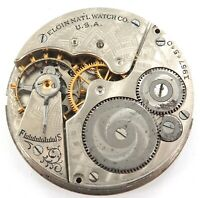 * 1917 ELGIN 16S 7J MENS POCKET WATCH MOVEMENT & DIAL