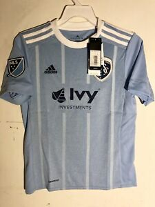 Adidas Youth MLS Jersey Kansas City Sporting Team Light Blue sz XL