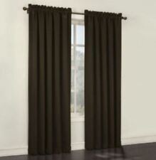 "*Sun Zero Emory Room-Darkening Rod-Pocket Curtain Panel Pair 108""x84"" Chocolate"
