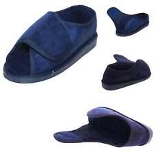 Wide Fit Slippers Fur Lined Open Toe Navy Blue hook & loop 11/45