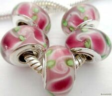5PCS Silver Single Core Murano Lamp Glass Beads fit European Charm Bracelet A016