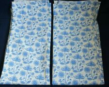 """2 IKEA ALFREDE STOR Curtain Panels Creme Blue Floral 54""""x112"""""""