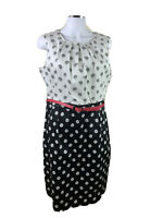 NEW Target Size 16 Black & White w Pink Belt Sheath Dress Midi Lgth Cotton Elas