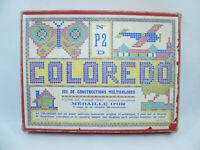 Ancien jeu COLOREDO N°P2 D boite de construction vintage 400 fiches couleur 60's