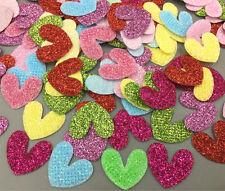 100Pcs Sequins Heart Shape Felt Appliques Mixed Colors Cardmaking Crafts 20mm