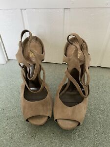 Roberto Cavalli Strappy Nude Suede Size 37 Shoes With Original Cavalli Shoe Bag