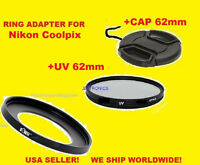 AptTo NIKON COOLPIX P510 P520 P530 -> ADAPTER RING+UV FILTER+LENS CAP 62mm