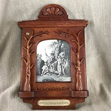 Rare Antique Victorian Picture Frame Carved Oak & Alexander The Great Engraving