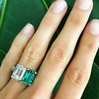 5ct Green Emerald Diamond Two Stone Cocktail Engagement Ring 14k White Gold Over