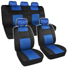 Two Tone Full Seat Cover Set with Headrest Covers for Car Truck SUV - Blue/Black