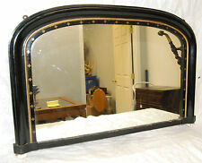 Antique Regency Style 1840's Overmantle Mirror With Original Porcelain Bun Feet