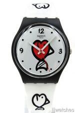 New Swatch Swiss Originals Fishy Fishy White Silicone Watch 34mm GB321 $70