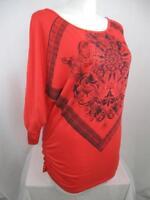 Simply Irresistible Size 1X Coral 3/4 Dolman Sleeve Rhinestone Embellished Top