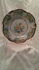 Rose D'Or Floral Yellow Roses, Blue Flowers & Gold Trim Dish