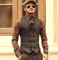 Mens Vintage Wool Blend Lapel Waistcoat Tweed Collared Tailored Herringbone Vest
