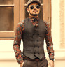 Mens Vintage Wool Blend Lapel Waistcoat Tweed Collared Tailored Herringbone Vest