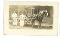 RPPC Meat Market Black Americana Wagon EUREKA SPRINGS AR? Real Photo Postcard
