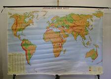 Schulwandkarte schöne alte Weltkarte Lernkarte Schulkarte 232x162 world map 1993