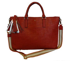 ANYA HINDMARCH SATSUMA VELVET CALF WOVEN LEATHER SMALL HUXLEY TOTE BAG