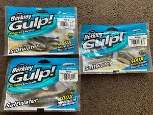 3 Packets X Berkley Gulp Sea Fishing Bait Shrimp Outfishes Live Bait Lure New