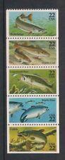 USA 1986 Fish Booklet Pane Stamps, SG2216/2220, MNH