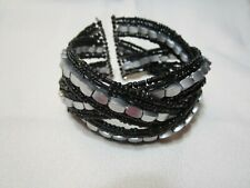 Braided Beaded Cuff Bracelet Black & Silver Tone
