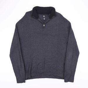 Vintage CALVIN KLEIN Grey Pullover 1/4 Zip Knitted Jumper Mens Size Large