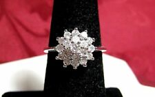 SILVER PLATED CLEAR STONES CLUSTER ACCENTS FLOWER RING SIZE 6