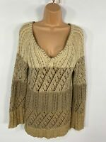WOMENS NEXT BROWN MIX V NECK CABLE KNITTED CASUAL WINTER JUMPER PULLOVER MEDIUM