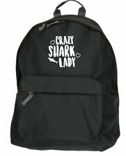 Crazy shark lady backpack ruck sack Size: 31x42x21cm