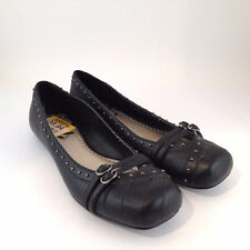 N Report Lucy Slip On Black Flats Size 6 Leather Ballet Flats Shoes Womens