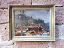 Antikes Ölgemälde: Haus am Wildbach, Alpen  Landschaftsgemälde Romantiker