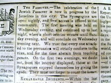 1841 newspaper JUDAICA Jews celebrate PASSOVER in Philadelphia PENNSYLVANIA