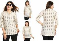 Indian Beige Top Pakistani Designer Cotton Kurta Kurti Tunic Dress Women MM116
