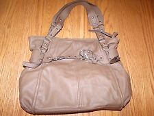 New Womens Milano Collection Clip Tote Brown Imitation Leather Rivet Purse