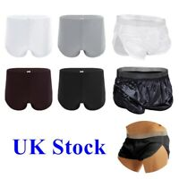 UK Mens Lounge Boxer Briefs Shorts Side Split Bikini Trunks Underwear Pouch Swim