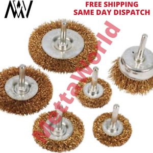 Rotary Wire Wheel & Cup Brush Drill Set 6mm for Rust Paint Remover Tool 6 Pieces