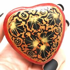 Hand-painted Floral Leaves Box - Dark Red Heart Handcrafted in Nepal, Small