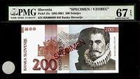 Slovenia 200 Tolarjev 1992 SPECIMEN PMG 67 EPQ UNC Pick#15s S/N RB000000 943