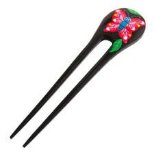 """6"""" HANDPAINTED RED BUTTERFLY NATURAL WOOD HAIRSTICK HAIRFORK HAIR hairpin"""