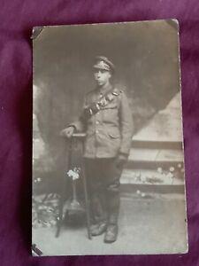 VINTAGE WW 1 ERA REAL PHOTO POSTCARD, SOLDIER IN UNIFORM