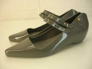 Womens 6 M Melissa + Karl Lagerfeld Gray Mary Jane Flat Shoes Pointed Toe Rubber