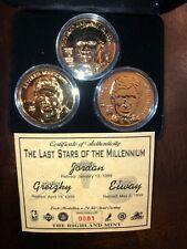 RARE!  Michael Jordan Wayne Gretzky John Elway Gold 24kt Overlay 3-Coin Set