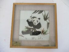 "Panda CAC Feather Art Intricate Framed Matted Art 3D 10"" X 10"""