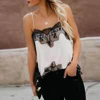 Womens Lace Sexy Sling Vest Fashion Camisole Sleeveless Tank Top T-Shirt  Blouse