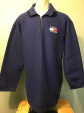 Vtg 90s Tommy Hilfiger Blue Fleece Pullover Jacket Mens L 1/4 Zip Spell-Out Logo