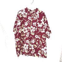 Old Navy Mens Size XXL Aloha Hawaiian Shirt Cotton Dark Red with Ivory Flowers