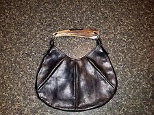 YSL Yves Saint Laurent Brown Leather Mombasa Horn Handle Handbag Purse