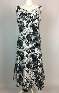 Per Una M&S Linen Dress UK 18 Black White Floral Straps Fit Flare Holiday Cruise